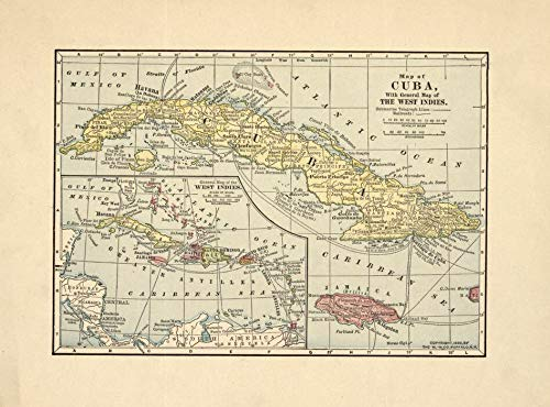 Art Oyster Vintage Map of Cuba with General map of The West Indies, 1899-22.5