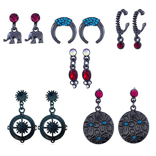 Bohemian Vintage Statement Tassel Healing Crystal Tribal Charm Multicolored Stud and Dangle Hoop Earring Set for Women and Girls (6 pairs moon, elephant, compass set)
