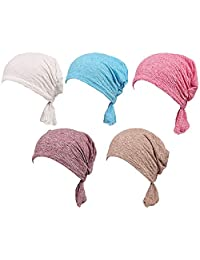 RACHELJP Women Cotton Chemo Cap for Cancer Patients 5 Pack Slouch Beanie