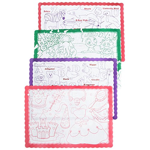 50 Kids Color Me Design Placemat, Activity, Paper, Disposable, Party time, restaurant, Home Dining