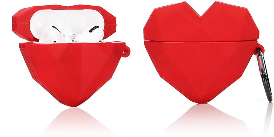 LEWOTE Airpods Pro Silicone Case Funny Cute Cover Compatible for Apple Airpods Pro[Fruit Dessert Series][Best Gift for Kids Friends Boys Girls] (Diamond Heart)
