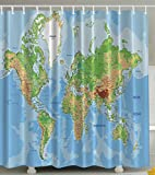 World Map Print Educational Geographical Earth in My Bathroom Direction Ability Ocean Journeys Voyager Novelty Home Decor High Quality Fabric Shower Curtain, Blue Green Khaki Brown White Picture