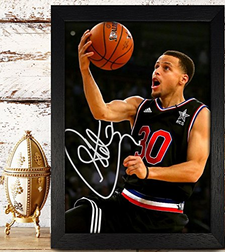 Framed Stephen Curry Signed Autographed Photo Reprint Rp Pp - Golden State Warriors