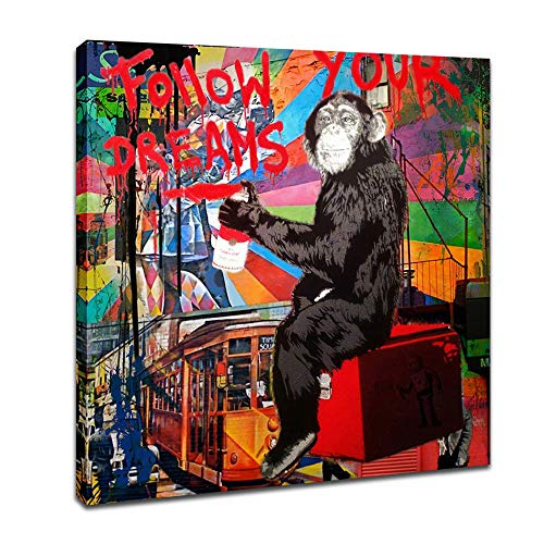 - Street Art Graffiti Monkey Follow Your Dreams Prints on Canvas Art Wall Picture Animal Street Artwork for Living Room Decor Ready to Hang 1 Pcs