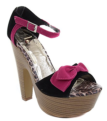 Ankle Wooden Heels Chunky Women's Fuchsia Synthetic Funky Buckle Bow Fourever Platform HWOIw4Hq