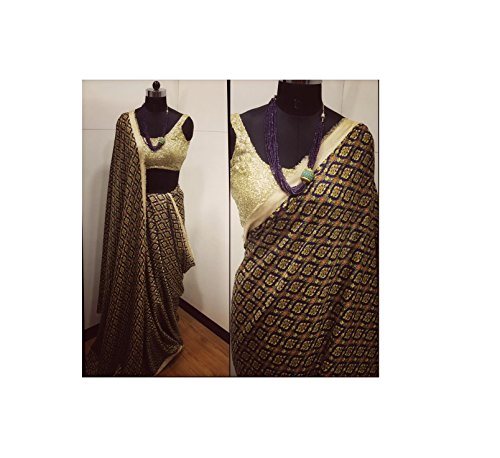 Cotton Silk print work saree with gold sequin blouse piece