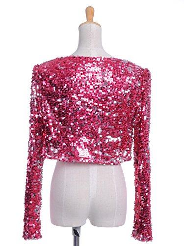 Bolero Rosso Glitter Shrugs donna Anna Blazers cappotto lunga Paillettes Kaci Giacca manica Giacche Cropped lustrino XSw06q