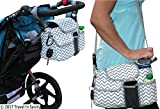 Universal Stroller Organizer with Cup Holders | Mini Diaper Bag | Easily Store Wallets - Keys - Bottles - Diapers - Wipes & Toys. | Premium Chevron Stroller Caddy by Travel in Sanity