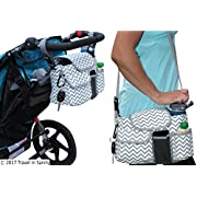 Designer Stroller Organizer & Diaper Bag with Cup Holders for Chic Moms. Fits Almost All Strollers (i.e. Jogger, Double). Lots of Storage for Phones, Wallets, Drinks & Toys. Perfect Baby Shower Gift!