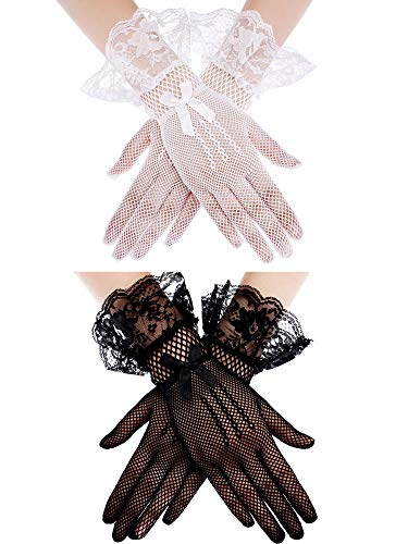 2 Pairs Women's Lace Gloves Short Gloves Floral Lace Gloves Vintage Lace Wrist Gloves for Wedding Dinner Parties Fancy Dress Ball (Color Set 1) ()