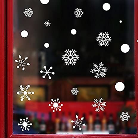 Amazoncom Christmas Snowflake Window Clings Decorations - Snowflake window stickers amazon