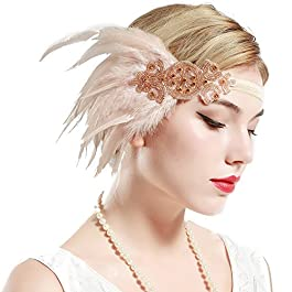 ArtiDeco 1920s Flapper Feather Headband 1920s Beaded Headpiece Great Gatsby Costume Accessories Roaring 20's Accessories