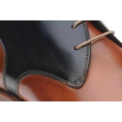aringa Stirrup bicolore stivali in marrone chiaro e navy vitello, (Tan and Navy Calf), 44