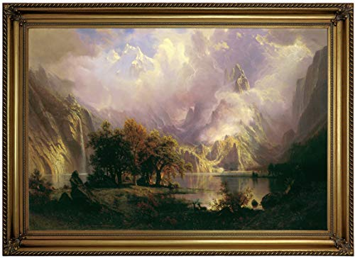 Historic Art Gallery Rocky Mountain Landscape 1870 by Albert Bierstadt Framed Canvas Print, Size 19x28, Gold