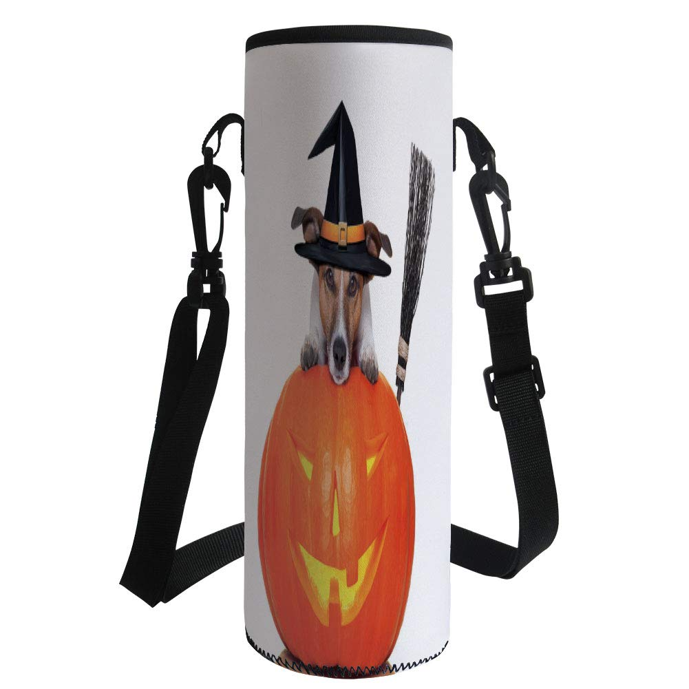 Water Bottle Sleeve Neoprene Bottle Cover,Halloween,Witch Dog with a Broomstick on Large Pumpkin Fun Humorous Hilarious Animal Print,Multicolor,Fit for Most of Water Bottles