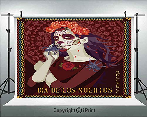 Day of The Dead Decor Photography Backdrops Dia de Los Muertos Print Woman with Calavera Makeup Spanish Rose Art,Birthday Party Background Customized Microfiber Photo Studio Props,5x3ft,Burgundy