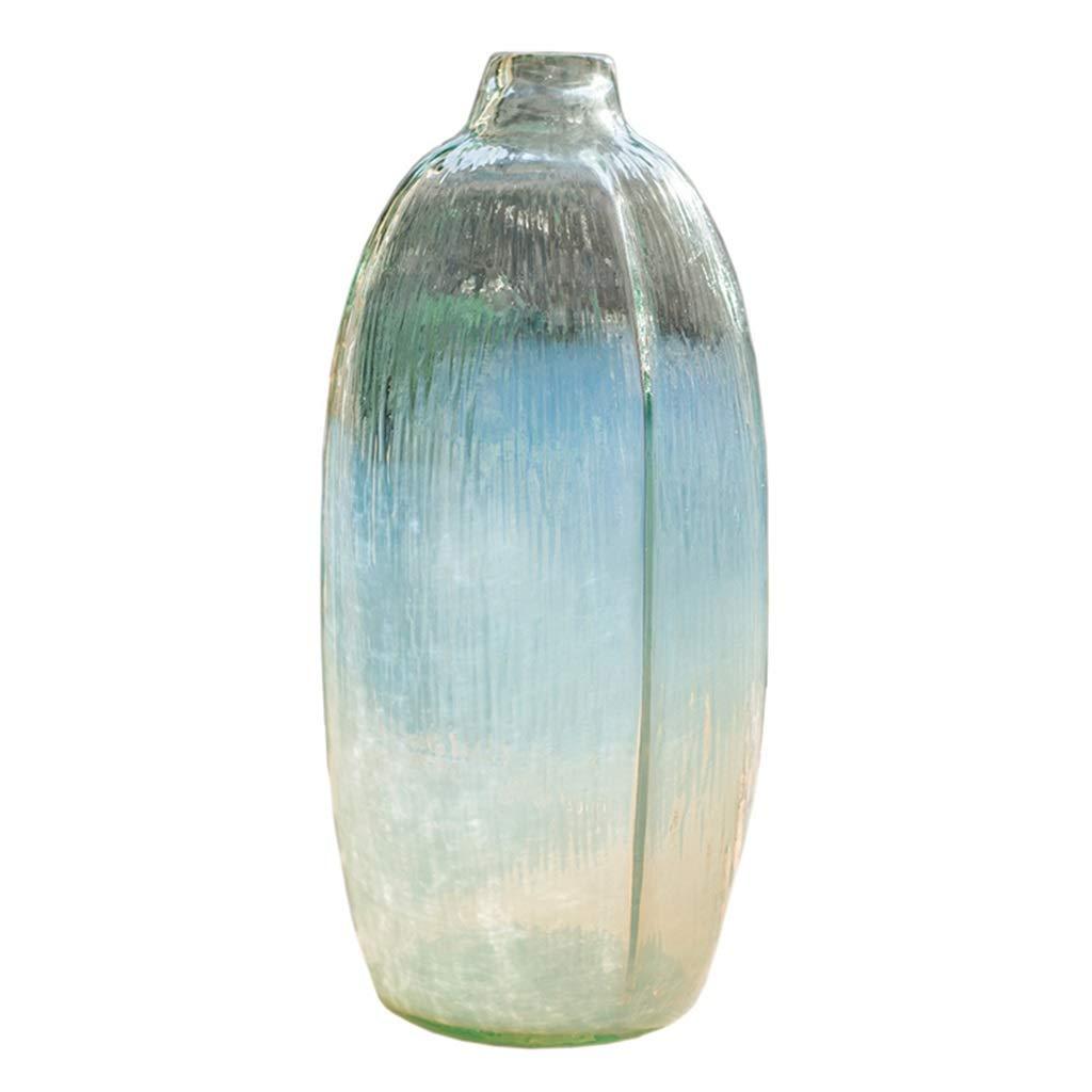 フラワーベース花器 花瓶半透明の縞模様の卓上装飾手作りガラス製品花収納ボトルホームアート装飾 (Color : Clear, Size : 16*35cm) B07S7TV5SH Clear 16*35cm