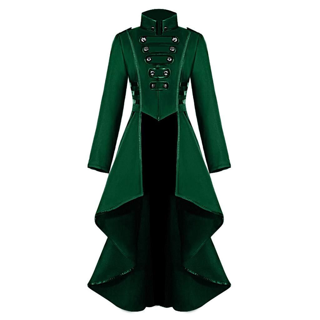 Women's Gothic Jacket Tailcoat Halloween Victorian Steampunk Coat Tuxedo Suit Corset (L, Green)