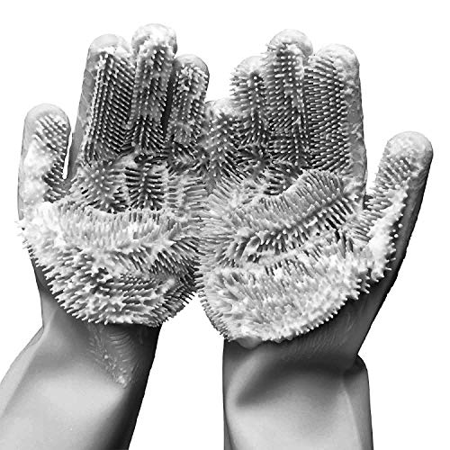 Silicone Scrubber Gloves, Magic Reusable Dishwashing Heat Resistant Brush Scrub Glove, Great for Kitchen, Bathroom, Household Cleaning, Surfaces, Pet Hair Care and Much More (Grey)