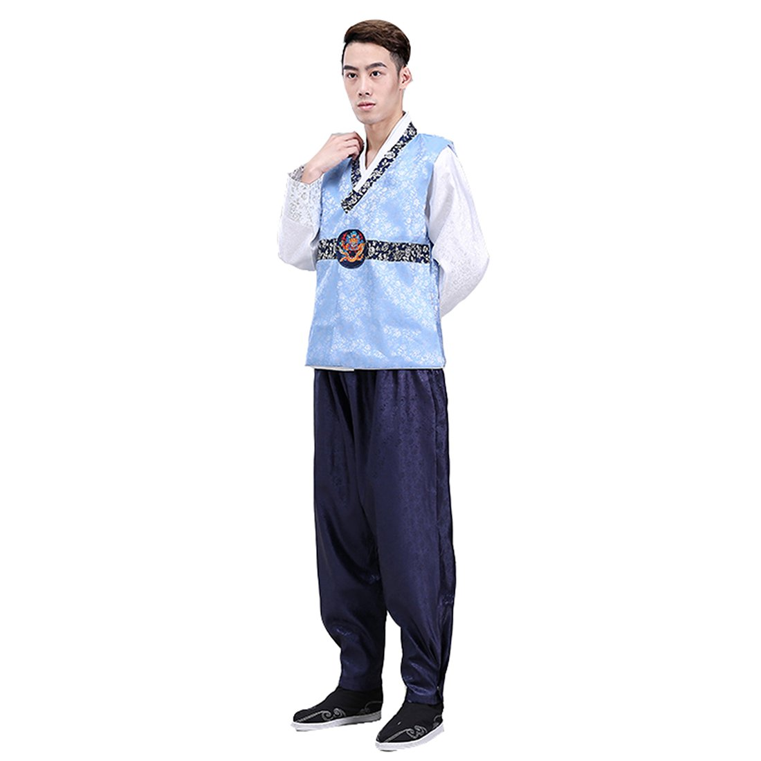 Ez-sofei Men's Korean Traditional Hanbok Sets Cosplay Costumes M Blue