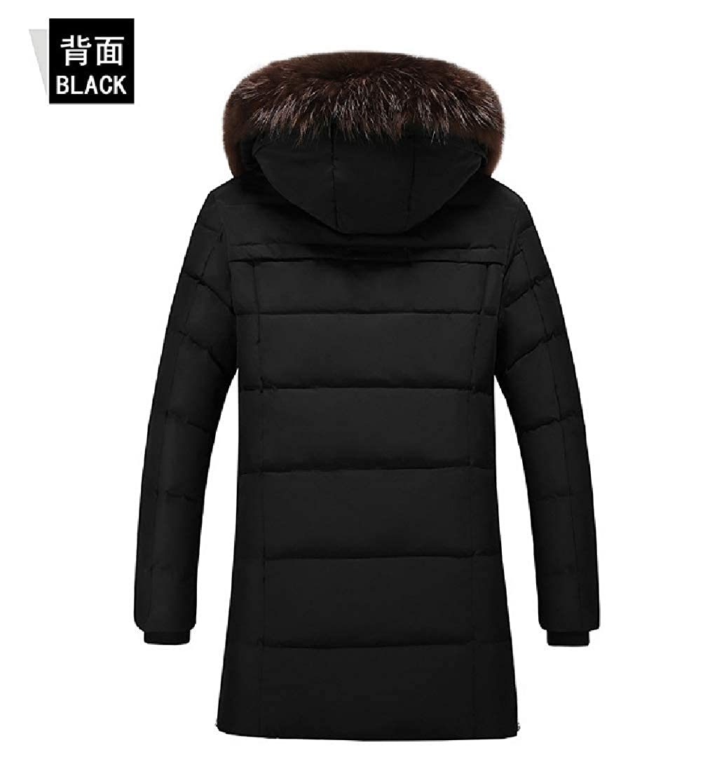 YUNY Mens Fur Collar Warm Thickened Hoode Mid-Long Outdoor Coat Jacket Black 4XL