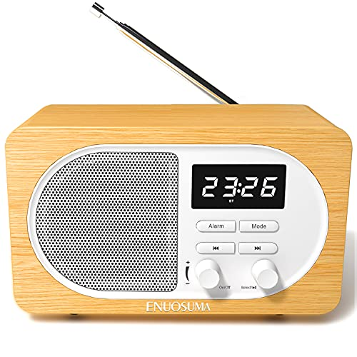 ENUOSUMA Retro Alarm Clock Radio with USB Charger, Bluetooth Speaker, Bedside Clock with 5 Alarm Sounds & Snooze Function, FM Radio with Long Antenna, 5W Speaker with 3D stereo sound, Bluetooth 5.0, Support TF Card /MIC/ AUX in/ USB Disk