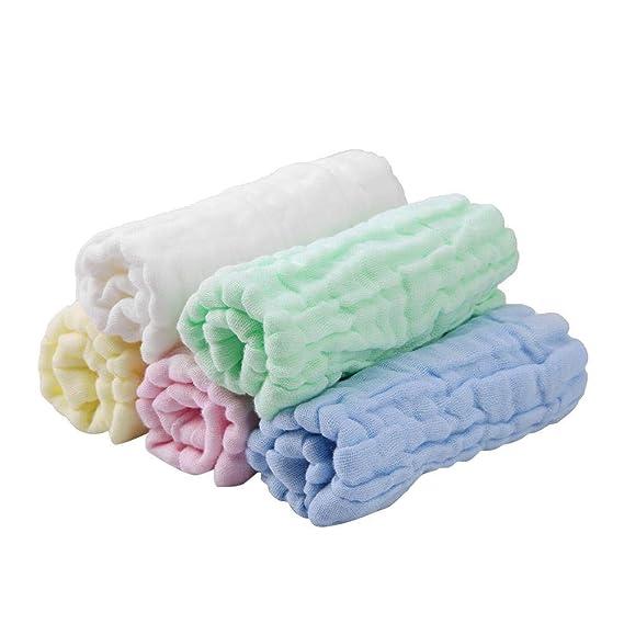 Toallitas para bebé de muselina - Toallitas de algodón 100% naturales para bebés - Toalla suave para bebés recién nacidos y toallita de muselina para ...