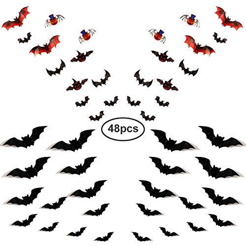 Halloween Batman Art (Luxsego 3D Bats Wall Stickers, 48Pcs Christmas Decal Art Decor for Haunted House & Carnival Vampire & Batman)