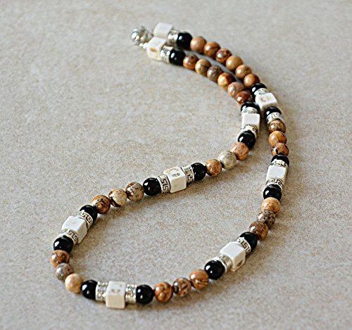 Howlite and black onyx horn pendant surfer tribal short choker necklace for men