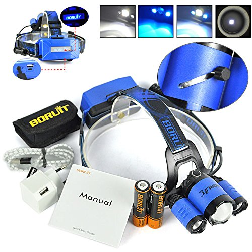 BORUIT RJ5000 Plus B22 Rechargeable Zoom XM-L2+2X XPE BLUE LED Hunting Headlamp Micro USB Headlight Torch 2x18650 PCB Batteries+Wall charger Head+USB+Cloth bag