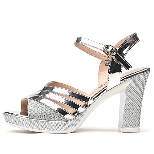 One Platform Waterproof Heels Fish silvery Sandals Style Rough New 9Cm Shoes Women'S Summer Mouth Toes KPHY Word Women Heel Sexy Buckle xqYwHq0