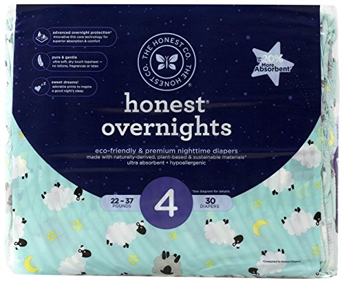 Honest Overnight Diapers  Sleepy Sheep  Size 4  26 Count