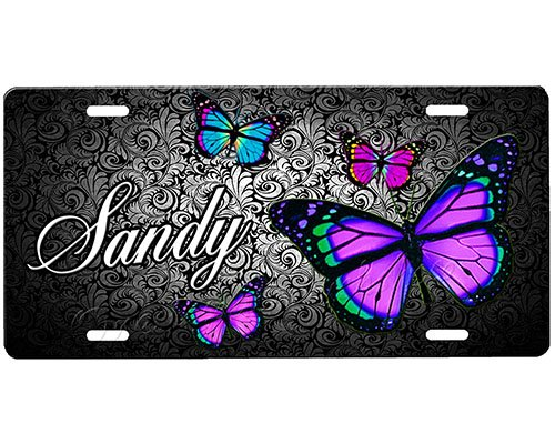 Car Airbrushed Tag (onestopairbrushshop Butterfly License Plate)