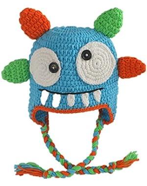 Handmade Custom Crochet Monster Hats for Infant Boys Blue Color