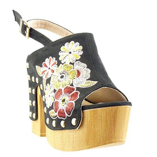 Angkorly - damen Schuhe Sabot Sandalen - Plateauschuhe - Blumen - bestickt - Nieten - besetzt Blockabsatz high heel 13 CM - Schwarz