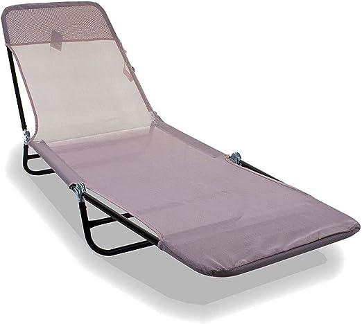 Terraza con jardín al aire libre con tumbonas sillón cama tumbona, la plataforma de respaldo ajustable (crema rubor), rubor en crema,Cream Blush: Amazon.es: Hogar