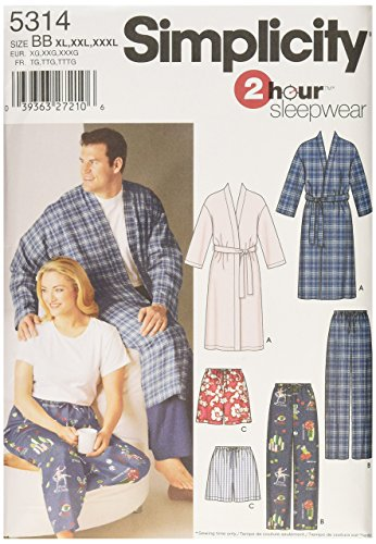 Simplicity Men And Women's 2 Hour Sleepwear Pajama Sewing Patterns, Sizes XL-XXXL and Chest Sizes 52-62