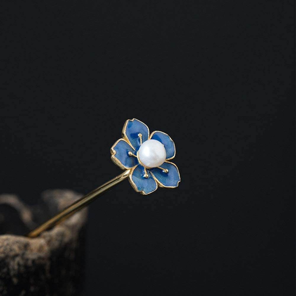 THTHT 925 Sterling Silber Haarnadel Hair Stick Retro Chinesisch Epoxy Flower Perle Plum Klassischen Weiblichen Temperament Braut Haarschmuck Deko Feste