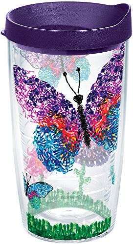 Tervis 1246105 American Cancer Society Butterflies Tumbler With Lid, 16 oz, Clear