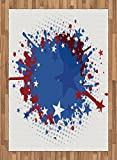 Sports Area Rug by Lunarable, Football Soccer Ball with Splashed Like Digital Background Image, Flat Woven Accent Rug for Living Room Bedroom Dining Room, 5.2 x 7.5 FT, Ruby Dark Blue White and Red