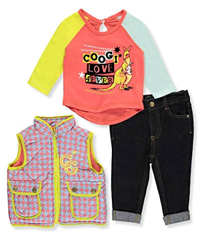Coogi Baby Girls' Puffy Vest 3-Piece Outfit - coral/multi, 24 months