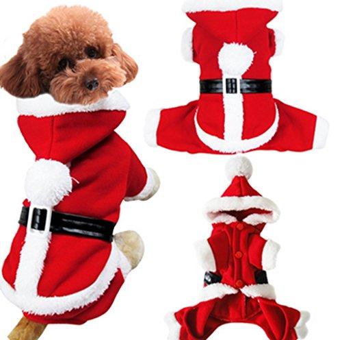 Ziwater Weihnachten Haustierkleidung Hunde Katze Nikolaus Kleidung dreidimensionalen Anzug Hundemantel Winter Jacken Weihnachtskostüm (M)