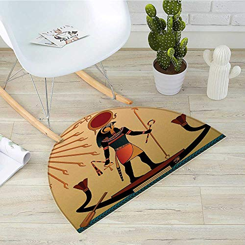 Egyptian Half Round Door mats Ancient Figure Sun Old Egyptian Religion Grace Icons Tradition Illustration Print Bathroom Mat H 51.1