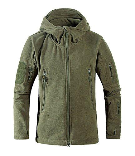 Chartou Men S Tactical Zip Up Fleece Outdoor Hooded Jacket