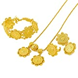 24K Gold Plated Ethiopian Habesha Coins Jewelry Wedding Party Sets S111