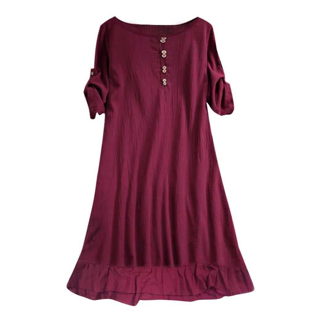 Hupoop🌹🌹Plus Size Damen Oansatz Lässige Halbarm Lose Kleid(Wein, Marine,M/L/XL/XXL/XXXL/XXXXL/XXXXXL)