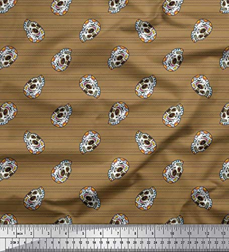 Soimoi Brown Georgette Viscose Fabric Stripe & Skull Halloween Print Fabric by Yard 42 Inch Wide -