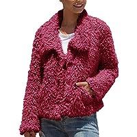 Doreyi Women's Casual Warm Faux Shearling Jacket (Wine Red)