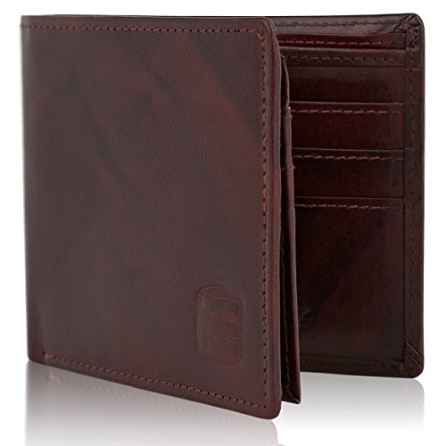 - Suvelle Bifold Mens Genuine Leather RFID Blocking Slimfold Travel Wallet WR98