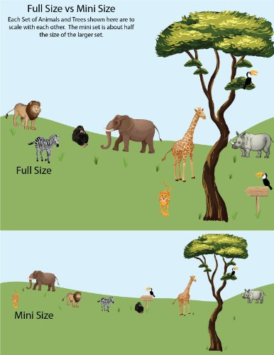 Jungle Tree Wall Decals, Jungle Stickers, Lion Decals, Drawn Jungle Animals Decal by Nursery Decals and More (Image #3)